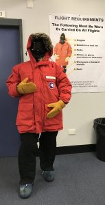 Fully outfitted in polar field gear, Mel Carter is ready to go!