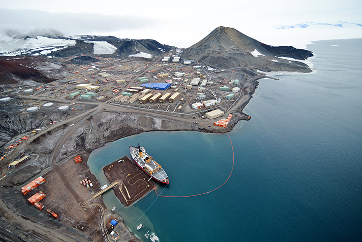 McMurdo Station from the air. [Reinhart Piuk / NSF]