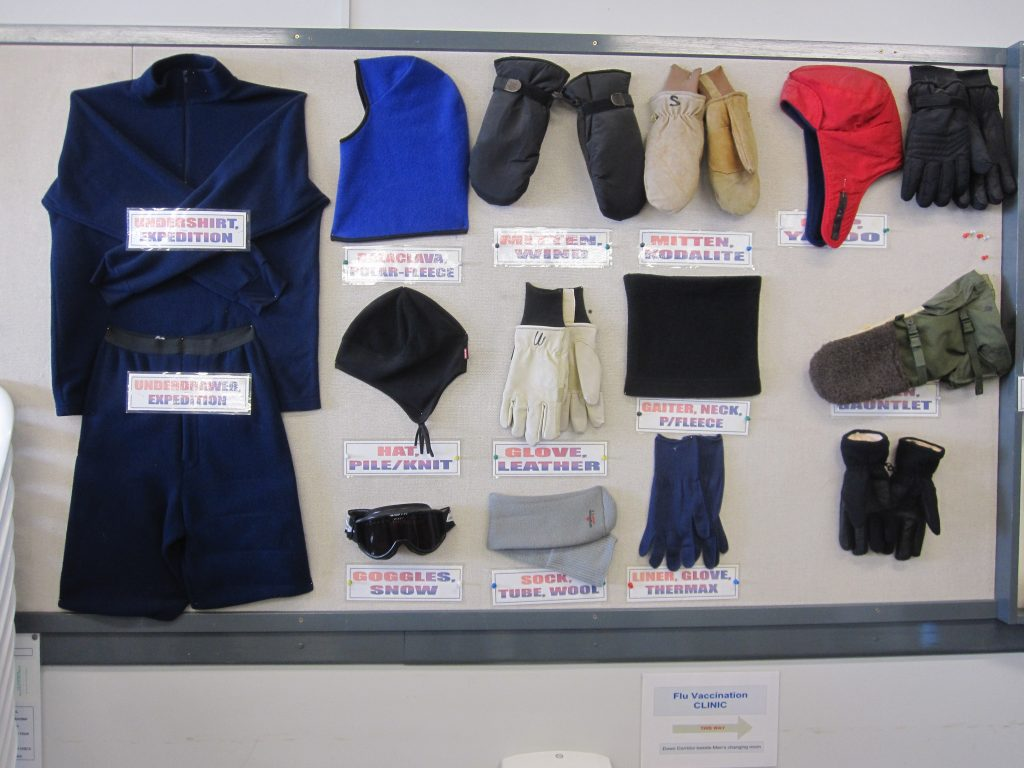There are a variety of cold weather gear to choose from. What you wear depends on how severe the weather is.