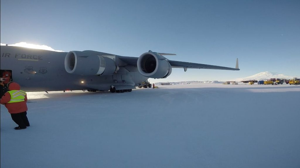 LC-17 Globemaster and Mt Erebus in the background