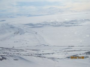 A view of the terrain from our transport on the roadway to snow camp.