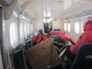 Inside the Twin Otter cabin -- room for four and the seismic station components that will be assembled and tested on the ice.